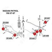 S.B. SUSPENSION DELANTERA NISSAN PATROL Y60  Material: poliuretano dureza: 80sha Piezas por envase: 1 Requerido / automóvil: 4  Valido para: Nissan Patrol Y60 87-97